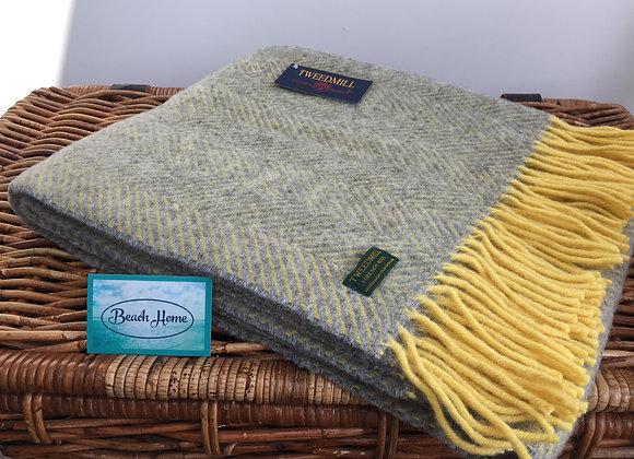 Tweedmill Textiles Pure New Wool Silver Grey/Yellow Herringbone Knee blanket