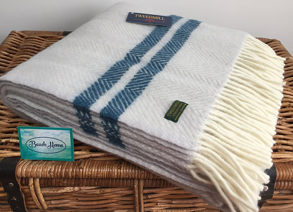 Tweedmill Textiles Pure New Wool glacier fishbone 2 ink Stripe Throw/Blanket