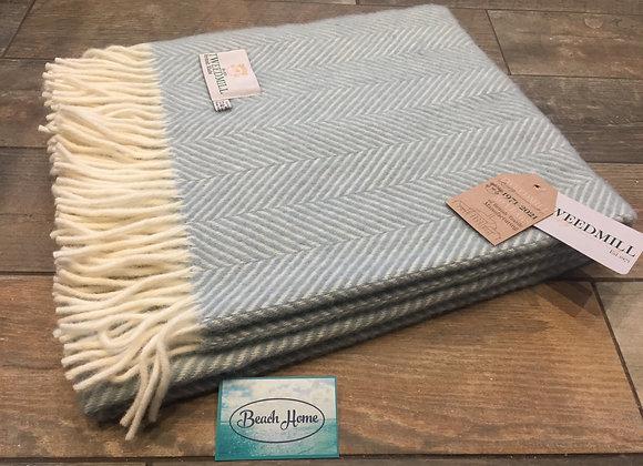 Tweedmill Textiles Duck Egg Fishbone knee blanket