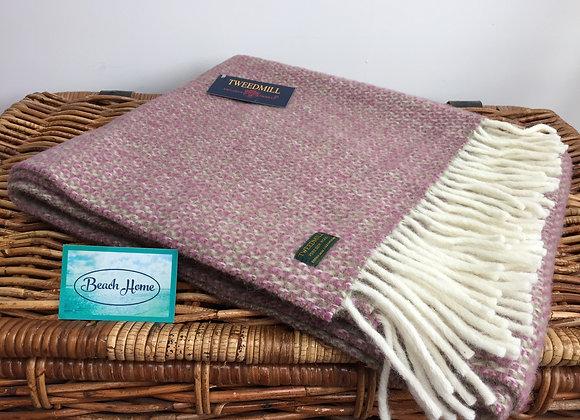 Tweedmill Textiles raspberry/ green illusion pure wool knee blanket