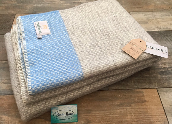 Tweedmill Textiles grey crossweave with sea blue band blanket/throw