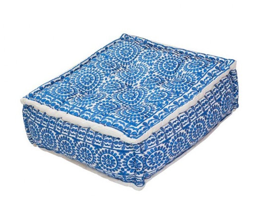 Bombay Duck Square cobalt blue embroidered Nomad Pouff Footstool/Cushion