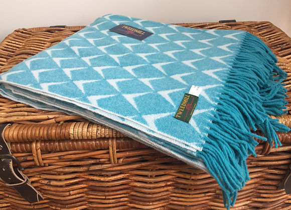 Tweedmill Textiles 100% Merino Wool Blue Harlech Coastal Throw/ Blanket
