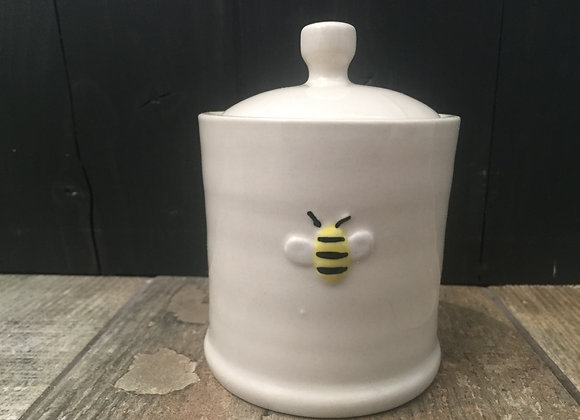 Gisela Graham mini sugar/ honey pot with embossed bee