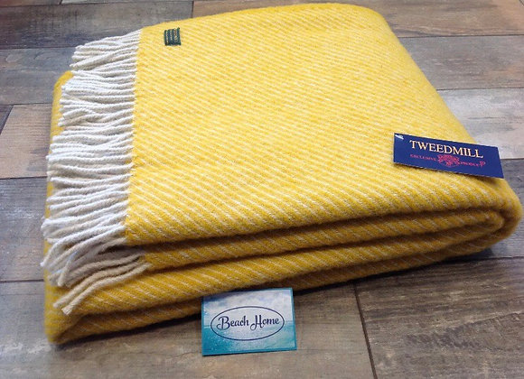 Tweedmill Textiles Pure New Wool Yellow diagonal stripe Throw/Blanket