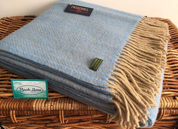 Tweedmill Textiles Pure New Wool Wheat/Beige & Blue Herringbone Throw/Blanket