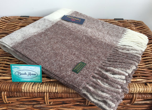 Tweedmill Textiles Brown/cream Jacob check pure wool knee blanket