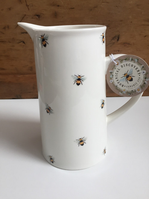 White Ceramic Bee Jugpitchervase