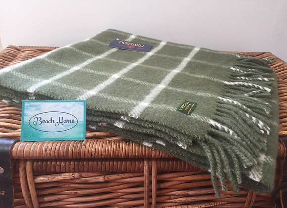 Tweedmill Textiles olive green chequered check Pure wool knee blanket