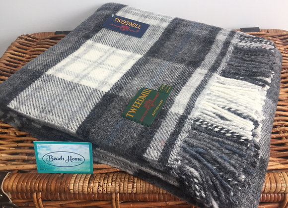 Tweedmill Textiles Pure New Wool Charcoal/Silver Grey Check Tartan Blanket/Throw