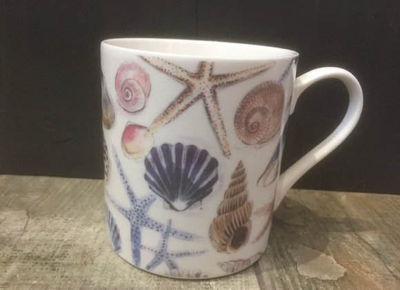 Gisela Graham bone China shells/ starfish mug