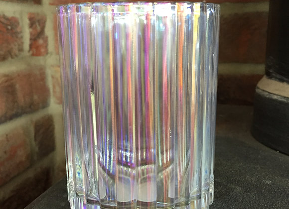 Ribbed glass light pink/lilac lustre tea light holder