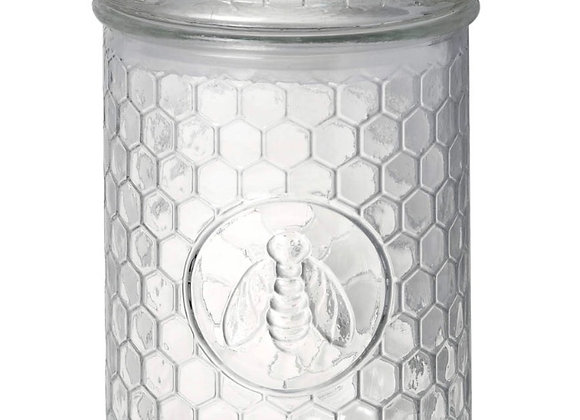 Parlane Bee and Honeycomb Medium Glass storage jar /vase with lid