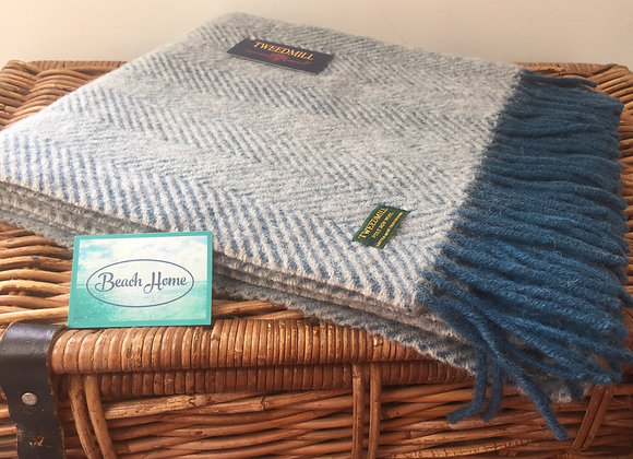 Tweedmill Textiles Ink blue and grey Herringbone knee blanket