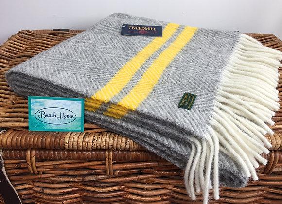 Tweedmill Textiles grey fishbone with yellow stripe pure wool knee blanket