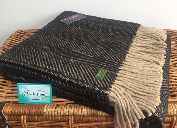 Tweedmill Textiles Pure New Wool Vintage Coffee Brown Herringbone Throw/Blanket