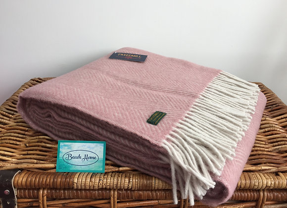 Tweedmill Textiles Pure New Wool Dusky Pink/Pearl Herringbone Blanket/Throw