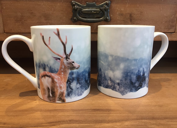2 Stag/ Deer winter scene Fine China Mugs