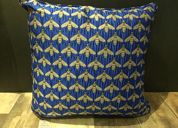 Large Royal blue jacquard metallic bee print cushion