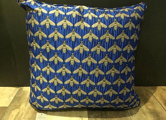 Large Royal blue jacquard metallic bee print cushion