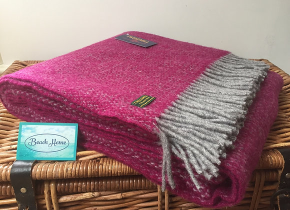 Tweedmill Textiles grape and grey illusion pure wool blanket/throw