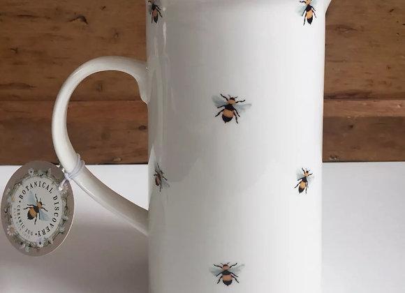 Botanical Discovery Bee white ceramic jug/ vase