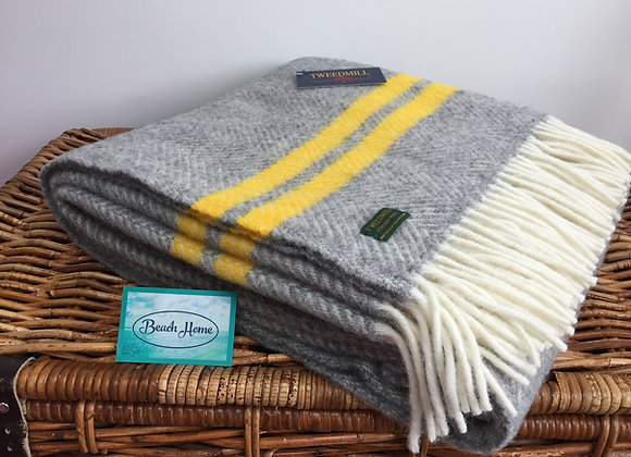 Tweedmill Textiles Pure New Wool grey fishbone 2 Yellow Stripe Throw/Blanket
