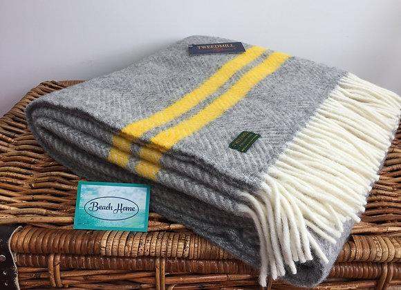 Tweedmill Textiles Pure New Wool grey fishbone 2 Yellow Stripe Throw/Blanket