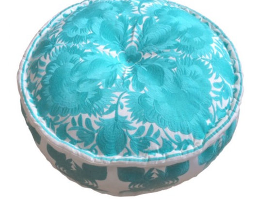 Bombay Duck Carnival Turquoise Embroiderd Nomad Pouff Footstool/Cushion
