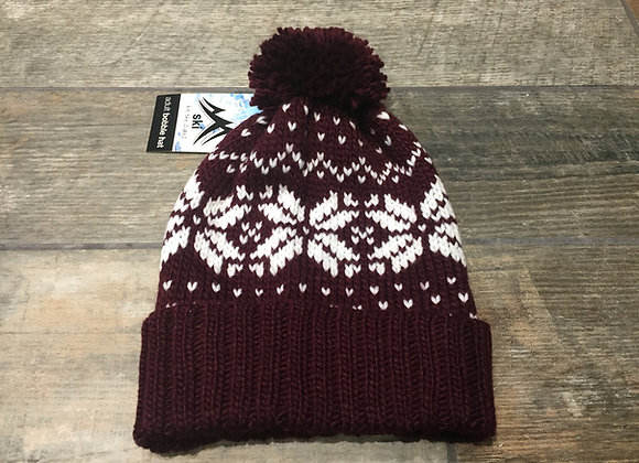 Fair Isle Burgundy Chunky Knit Unisex Beanie/Bobble Hat