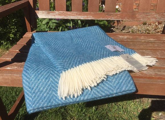 Bronte by Moon aqua Shetland herringbone Pure Merino wool throw