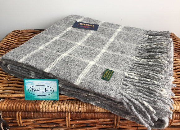 Tweedmill Textiles Pure New Wool Grey Chequered Check Throw/Blanket