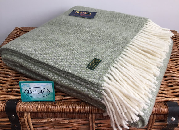 Tweedmill Textiles Pure New Wool Green/Grey Illusion Throw/Blanket