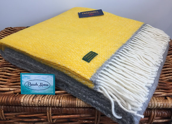 Tweedmill Textiles Pure New Wool Yellow Colour Block/Grey Illusion Throw/Blanket