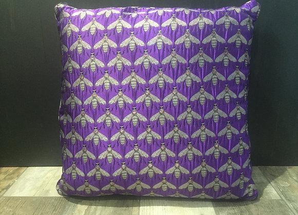 Large purple jacquard metallic bee print cushion