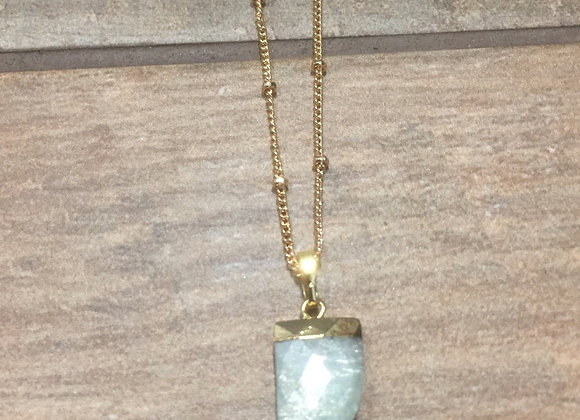 "16mm faceted Amazonite horn pendant on 16""gold plated satellite chain"