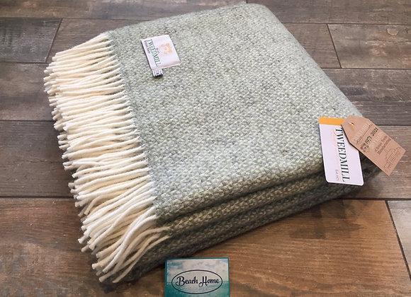 Tweedmill Textiles Pure New Wool Green/Grey Illusion Throw/Blanket