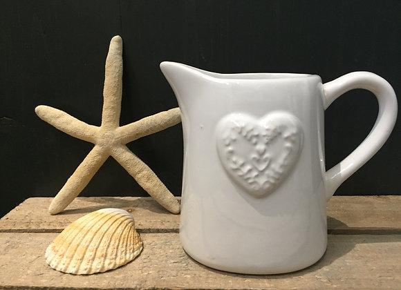 Gisela Graham white milk/cream jug with embossed heart