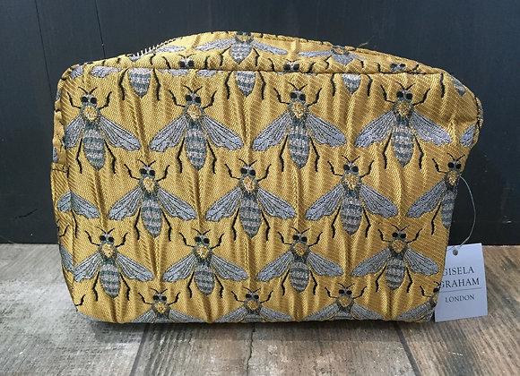 Gold metallic bee boxy make up bag