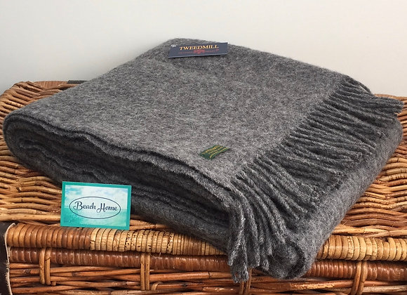 Tweedmill Textiles Pure New Wool Slate grey wafer Throw/Blanket