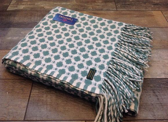 Tweedmill Textiles Pure New Wool sea green/ White Crossroads Throw/Blanket