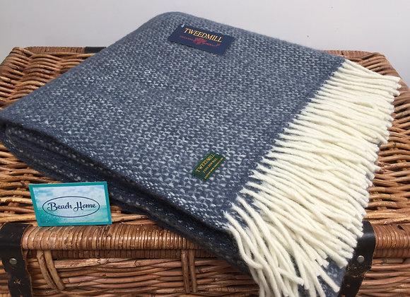 Tweedmill Textiles New Wool Slate blue Illusion Throw/ Blanket
