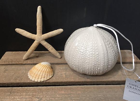 Gisela Graham glazed ceramic cream sea urchin decorative ornament