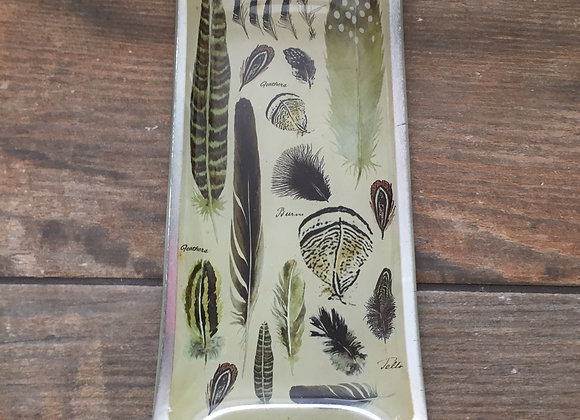 Gisela Graham glass feather print rectangular decorative plate