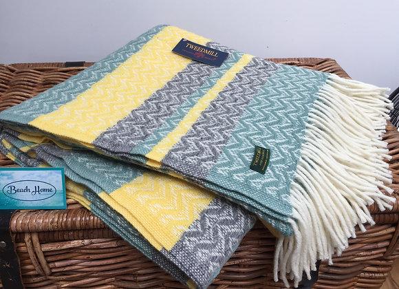 Tweedmill Textiles Pure New Wool Sea green, grey and grey yellow Throw/blanket