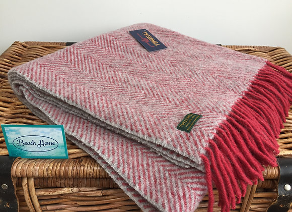 Tweedmill Textiles Pure wool watermelon and grey herringbone knee blanket