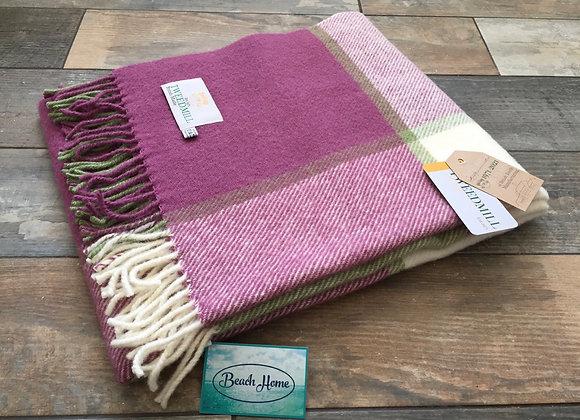 Tweedmill Textiles Raspberry, cream and green Tartan check wool knee Blanket