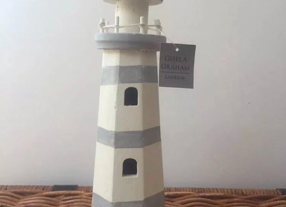 Gisela Graham distressed wooden grey stripe lighthouse