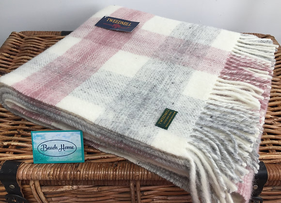Tweedmill Textiles Pink Meadow check pure wool throw/ blanket
