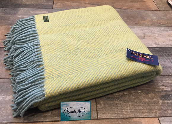 Tweedmill Textiles Pure New Wool Ocean and Yellow Herringbone Throw/Blanket
